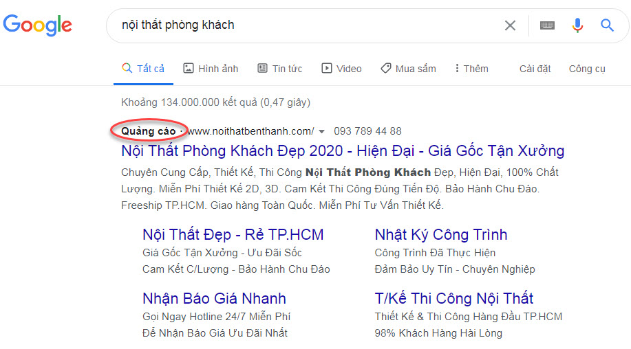 quảng cáo google search